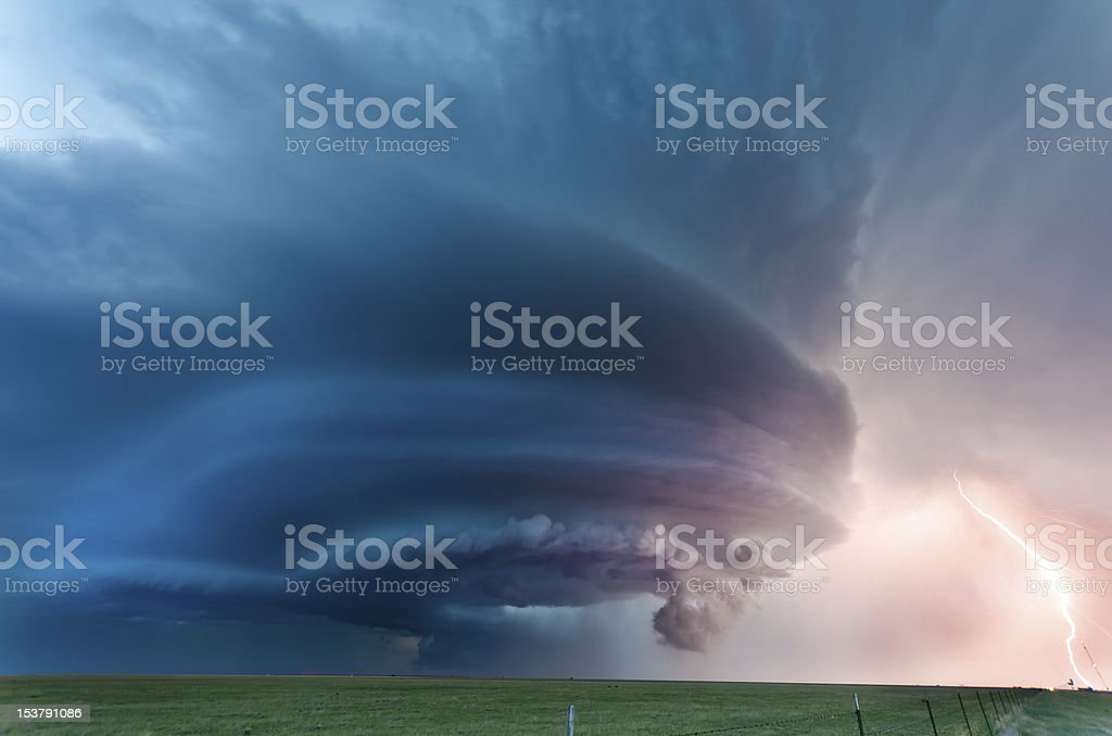 Tornadic supercell in the American plains stock photo