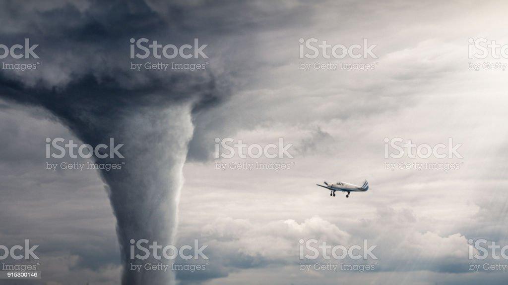 Tornado air view stock photo