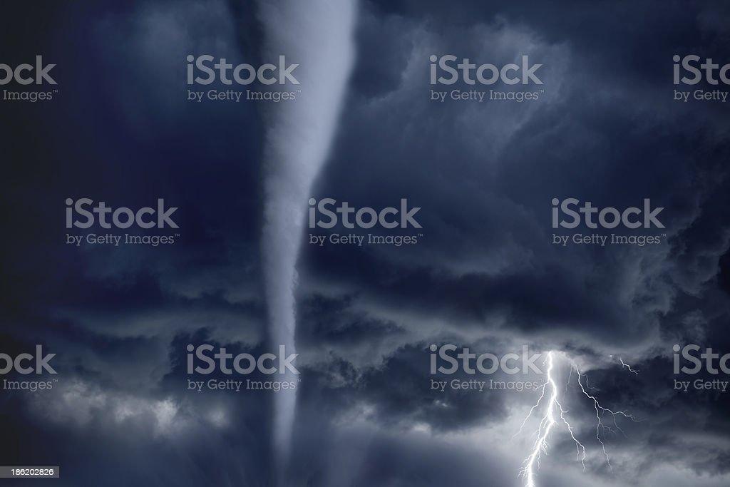 Tornado and lightning stock photo