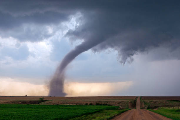 Tornado and supercell thunderstorm stock photo