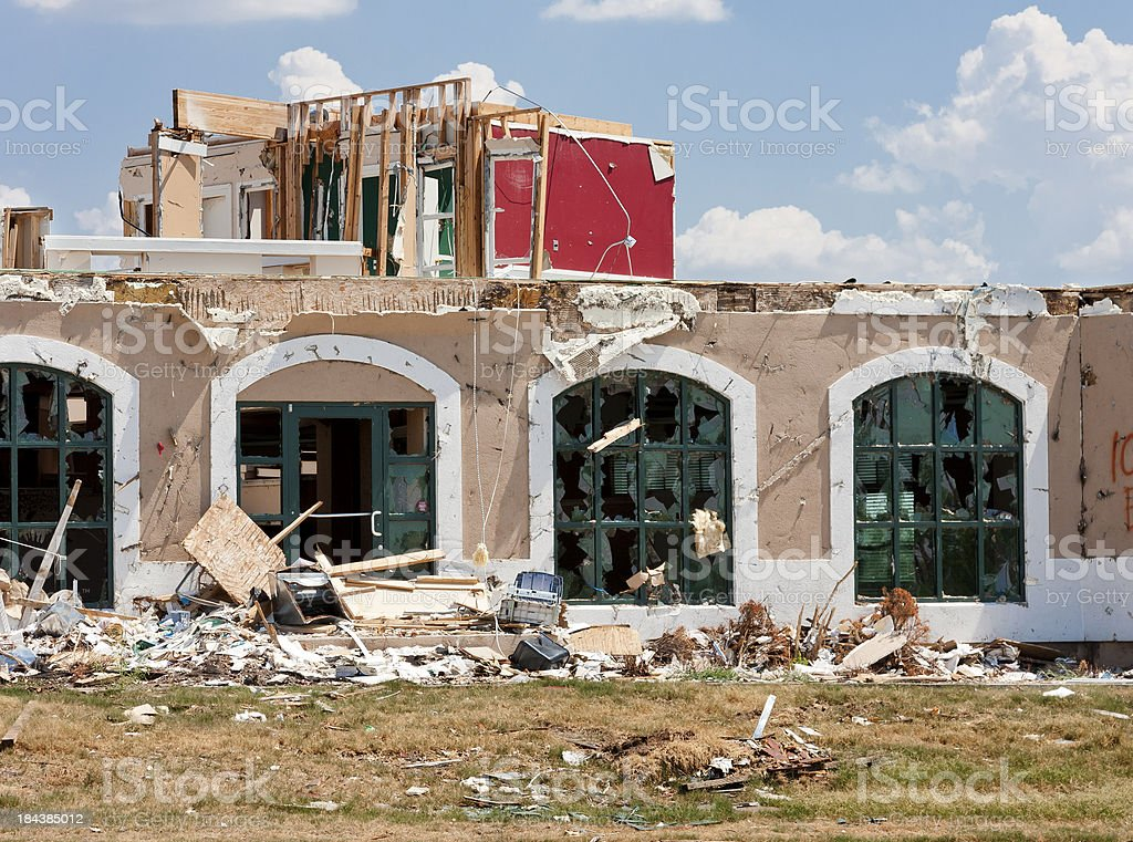 Tornado Damaged Buildings royalty-free stock photo