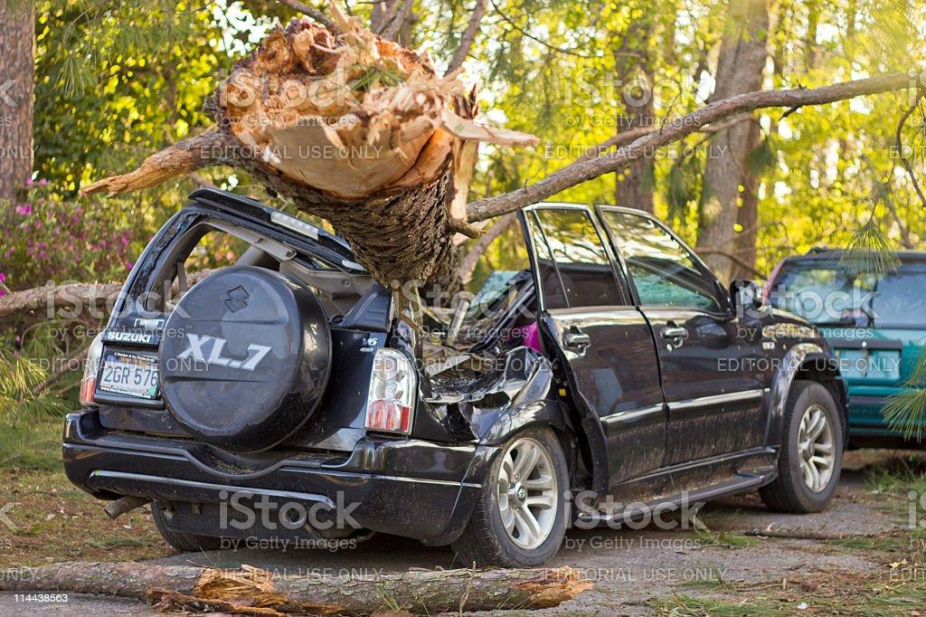 Tornado Damaged Car royalty-free stock photo