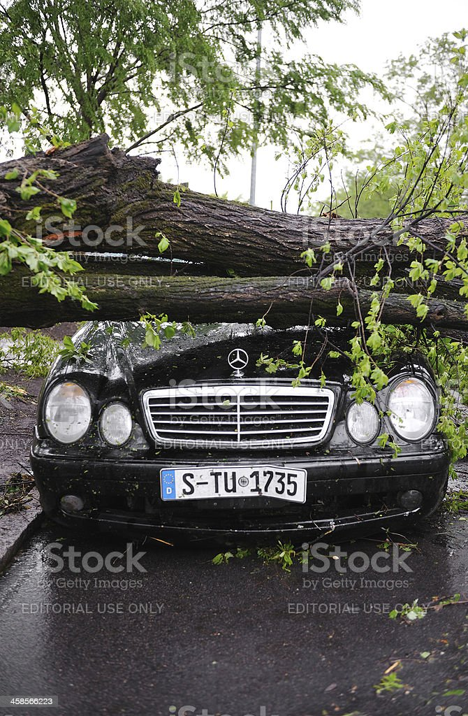 Tornado Destruction on Car in Raleigh, NC royalty-free stock photo