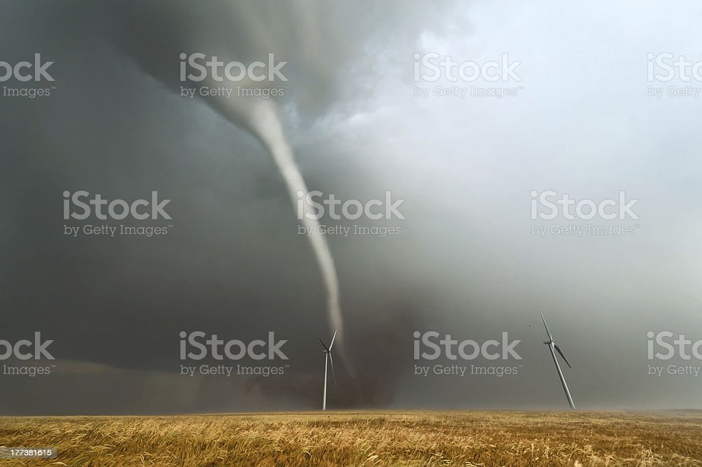 Tornado in the American plains stock photo