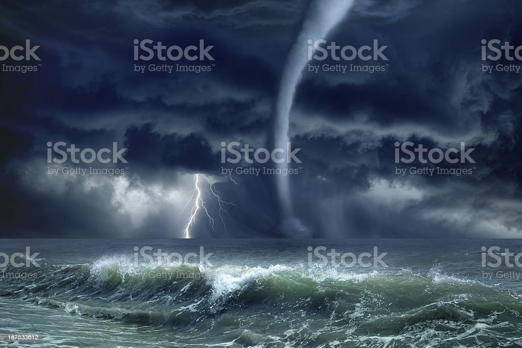 Tornado, lightning, sea stock photo