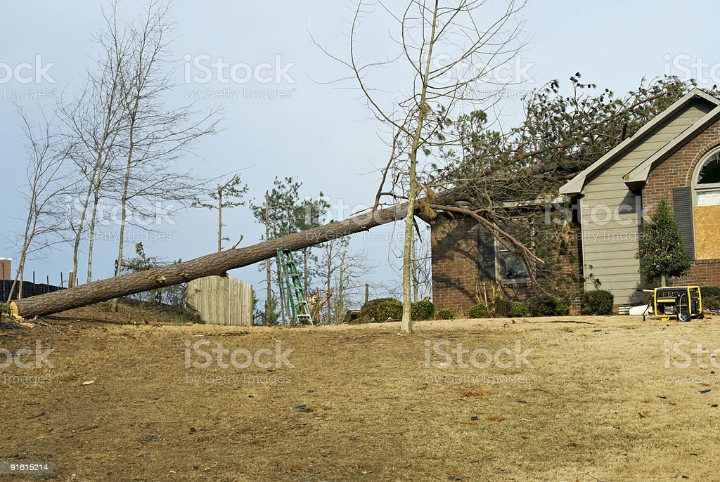 EF2 Tornado Natural Disaster Destruction in a Residential Neighborhood royalty-free stock photo