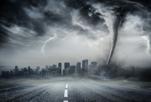 Dramatic Tornado View horizontal image with tornado near the city. Nature power concept. Climate change. Weather illustration. Adventure travel conceptual photography.