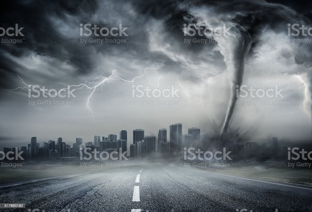 Tornado On The Business Road stock photo