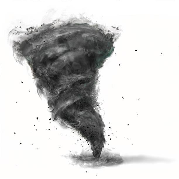 tornado on white background stock photo