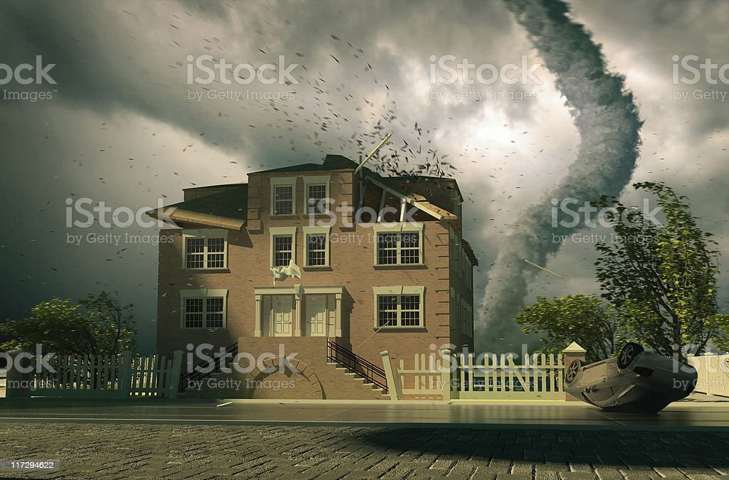 tornado over the house stock photo