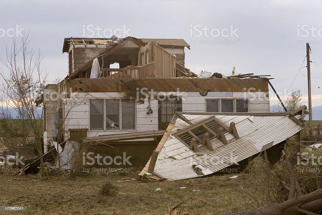 Tornado ripped apart home and trees outside Windsor, Colorado. royalty-free stock photo