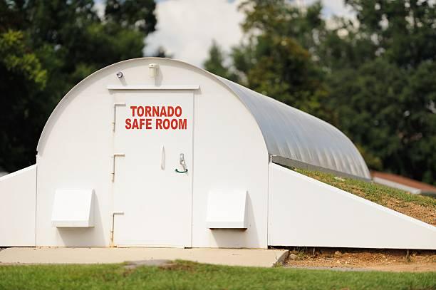 Tornado safe room in community stock photo