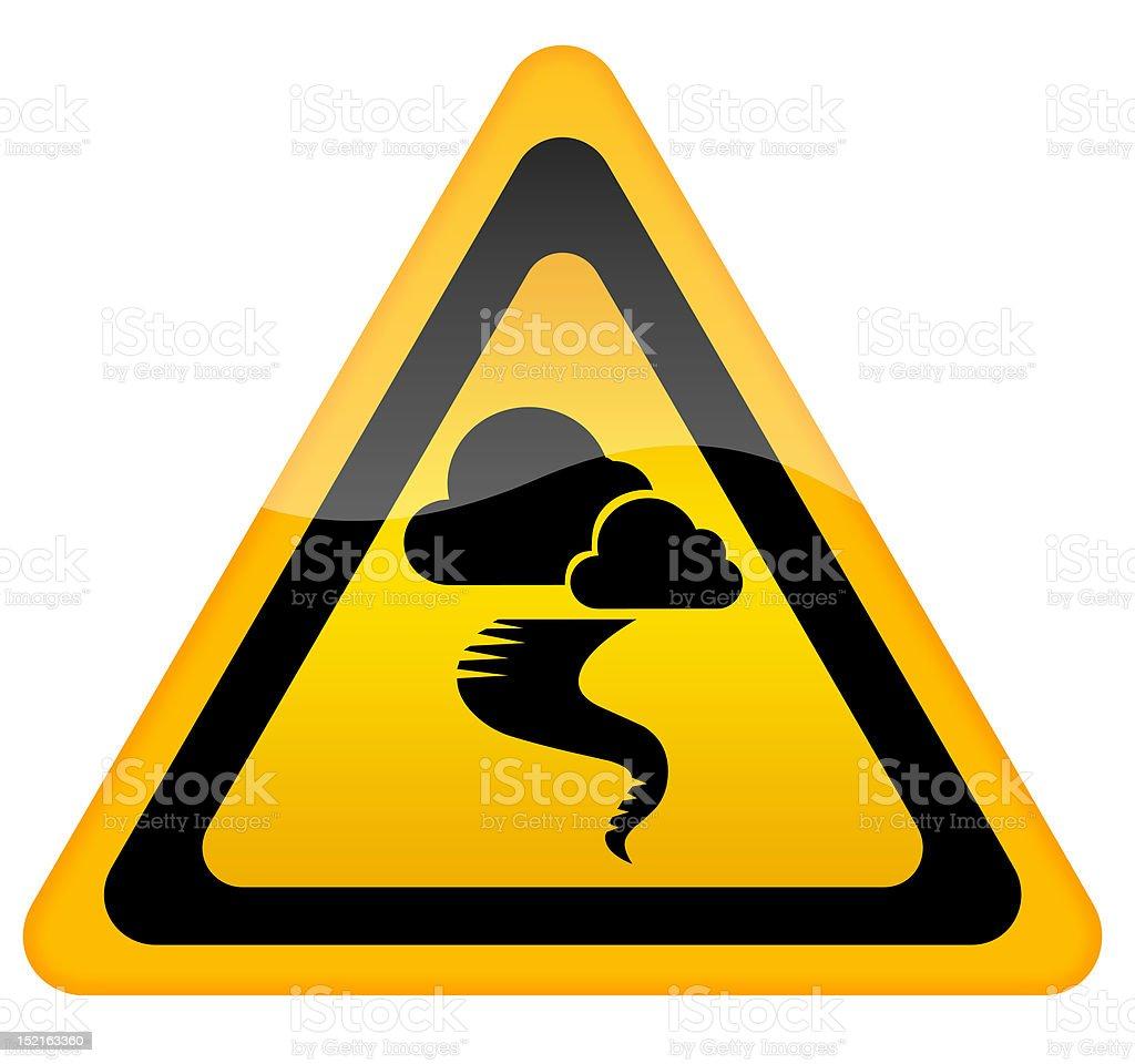 Tornado warning sign isolated on white background stock photo