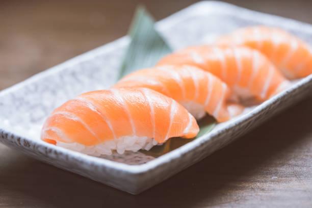 Toro salmon or fatty salmon sushi, background concept stock photo