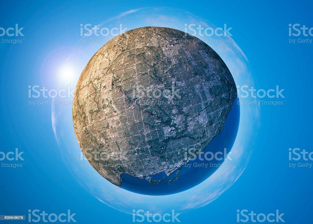 Toronto 3D Little Planet 360-Degree Sphere Panorama vector art illustration