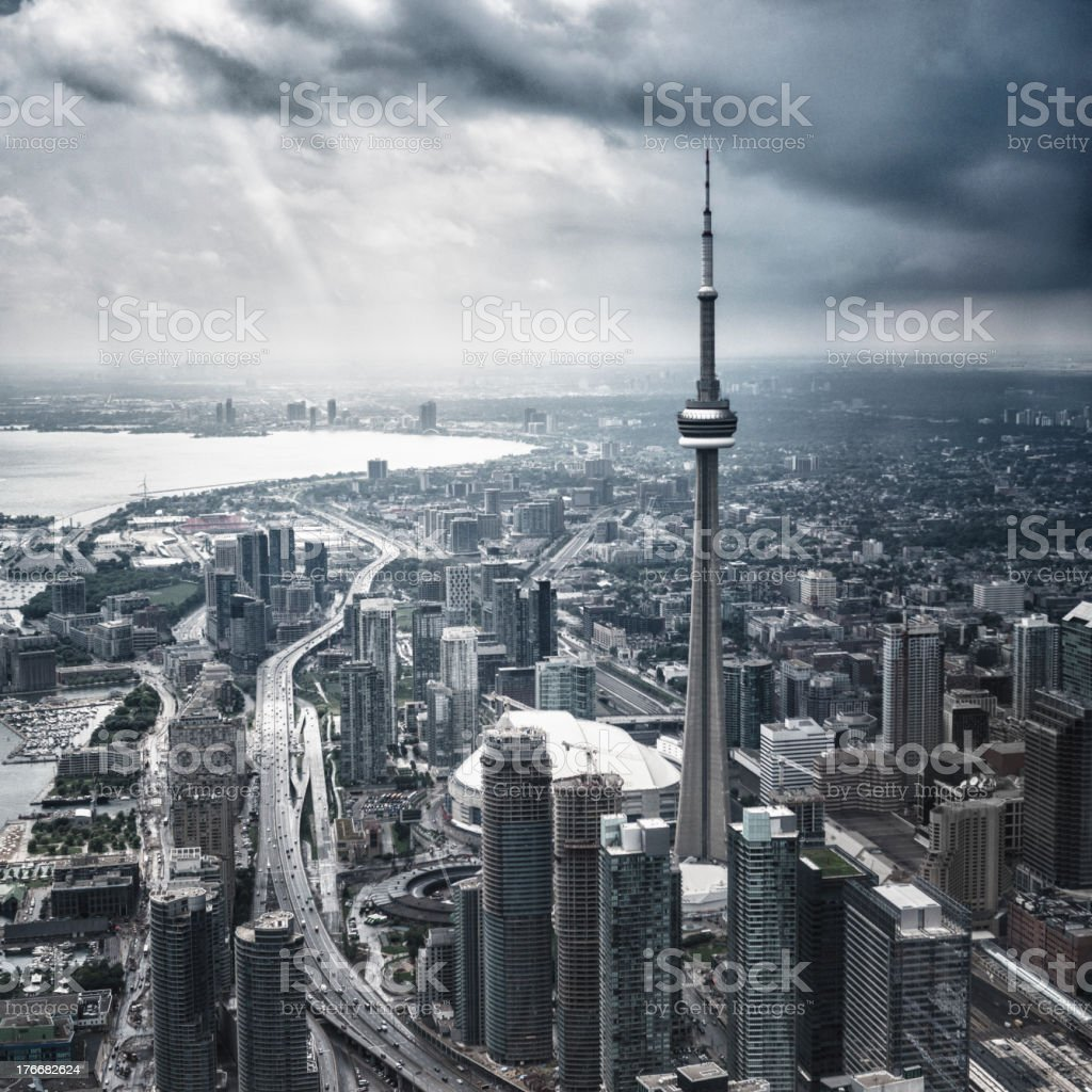 Toronto aerial view during a storm royalty-free stock photo