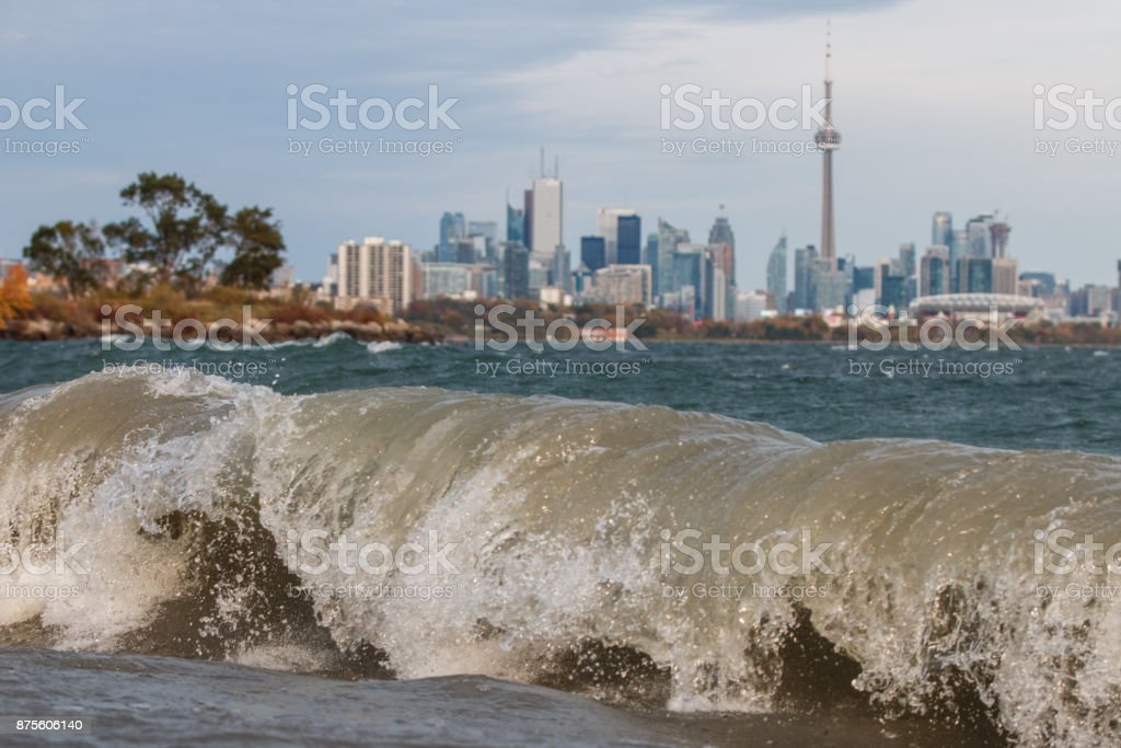 Toronto behind the waves stock photo