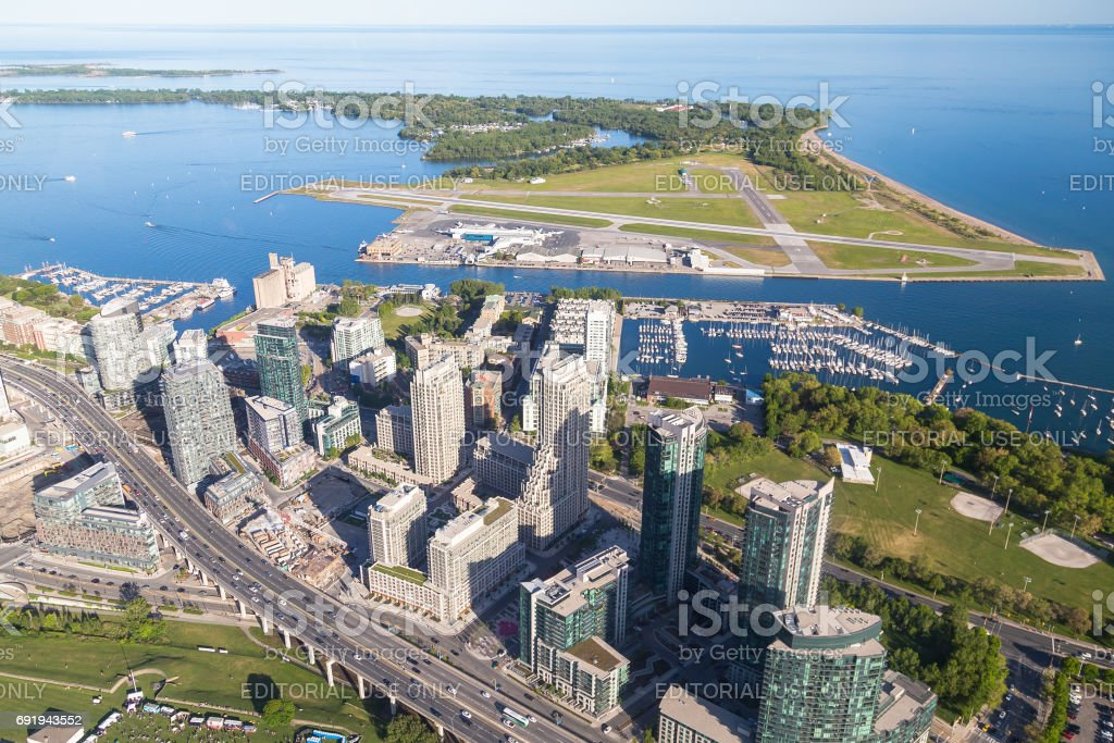 Toronto Billy Bishop Airport and Lake Ontario from the air stock photo
