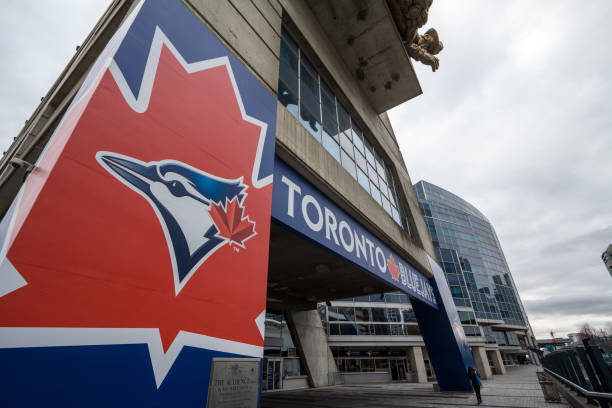 Toronto Blue Jays logo on their main stadium, Rogers Centre. The Blue Jays are the main baseball team of Toronto and Ontario stock photo