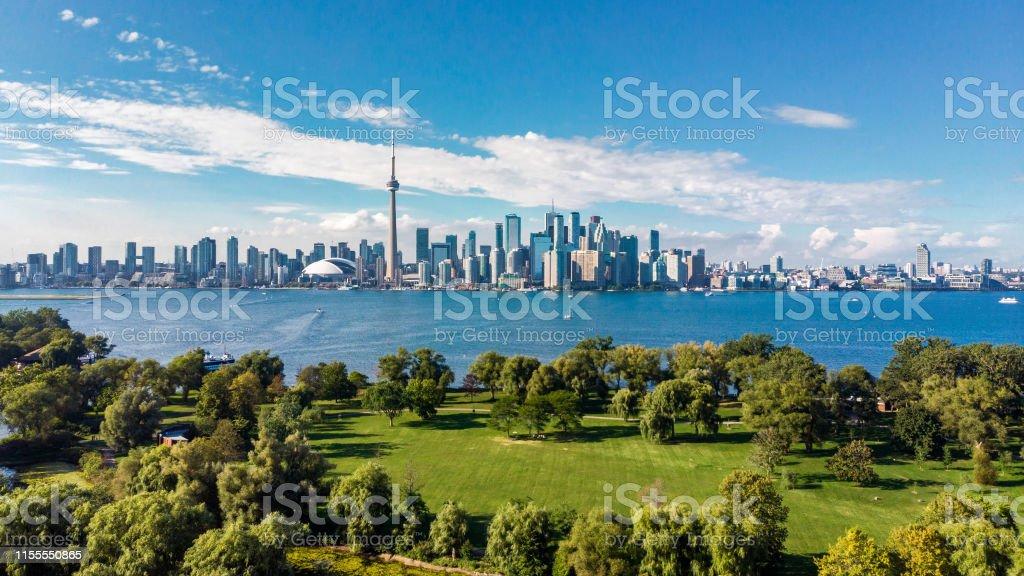 Toronto, Canada, Aerial View of Toronto Skyline and Lake Ontario Toronto skyline and Lake Ontario aerial view, Toronto, Ontario, Canada. Aerial View Stock Photo