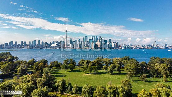 Toronto skyline and Lake Ontario aerial view, Toronto, Ontario, Canada.