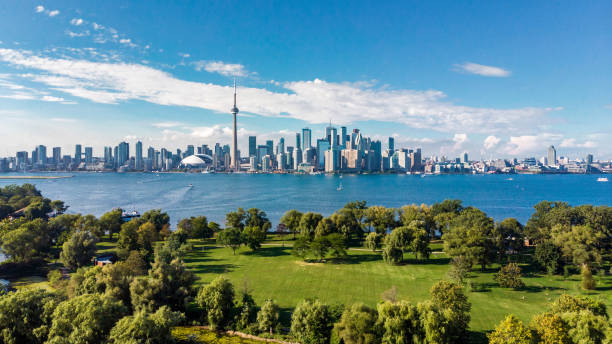 Toronto, Canada, Aerial View of Toronto Skyline and Lake Ontario Toronto skyline and Lake Ontario aerial view, Toronto, Ontario, Canada. canada stock pictures, royalty-free photos & images