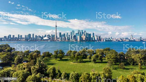 Toronto Canada Aerial View Of Toronto Skyline And Lake Ontario Stock Photo - Download Image Now