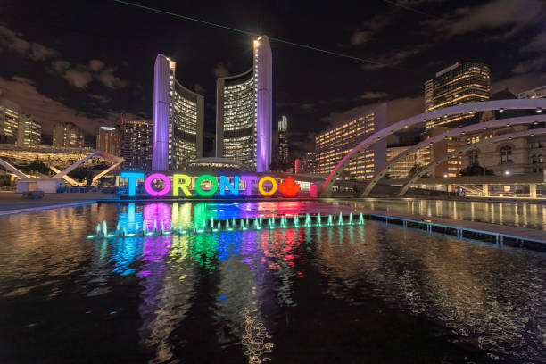 toronto city at night - toronto stock pictures, royalty-free photos & images