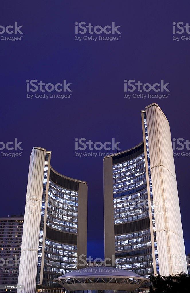 Toronto city hall at night royalty-free stock photo