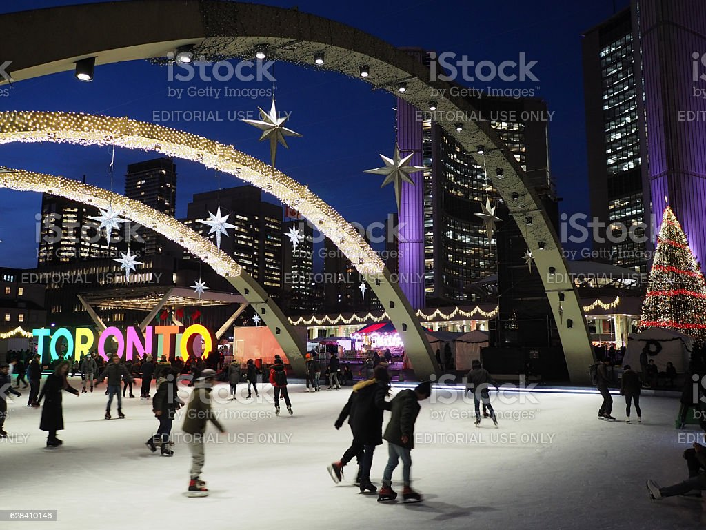 Toronto City Hall's skating ring stock photo