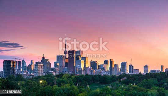 istock Toronto city night view from Riverdale Avenue. Ontario, Canada 1214528330