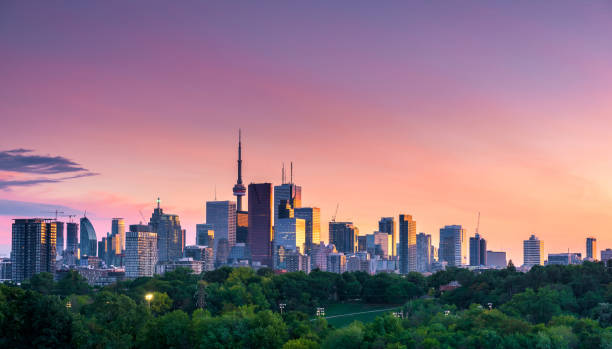 Toronto city night view from Riverdale Avenue. Ontario, Canada stock photo
