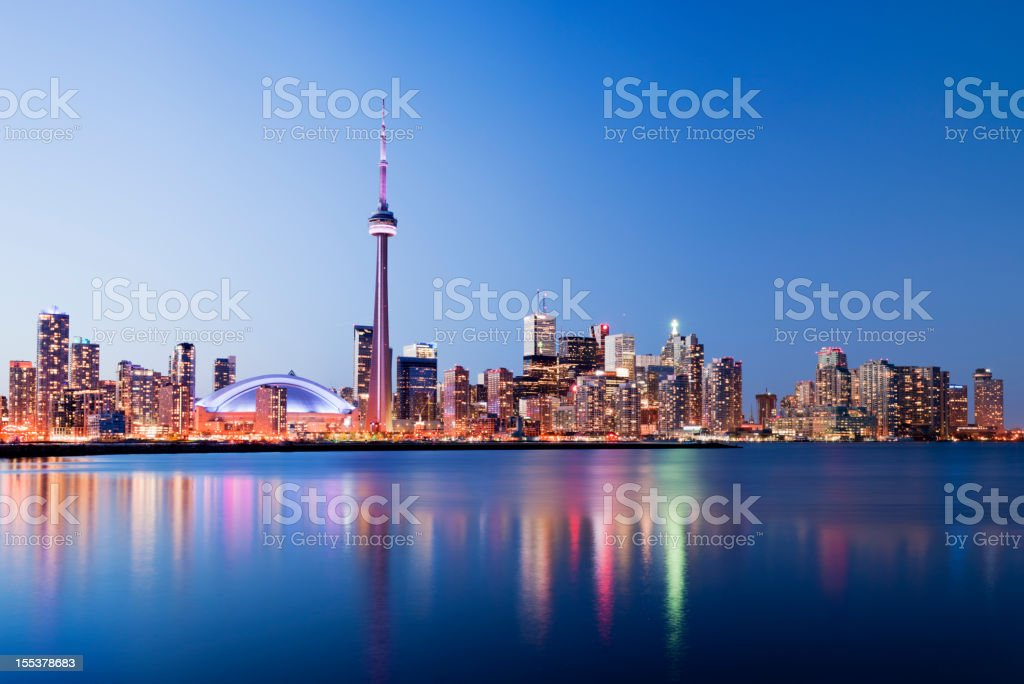 Toronto City Skyline at Night in Canada stock photo