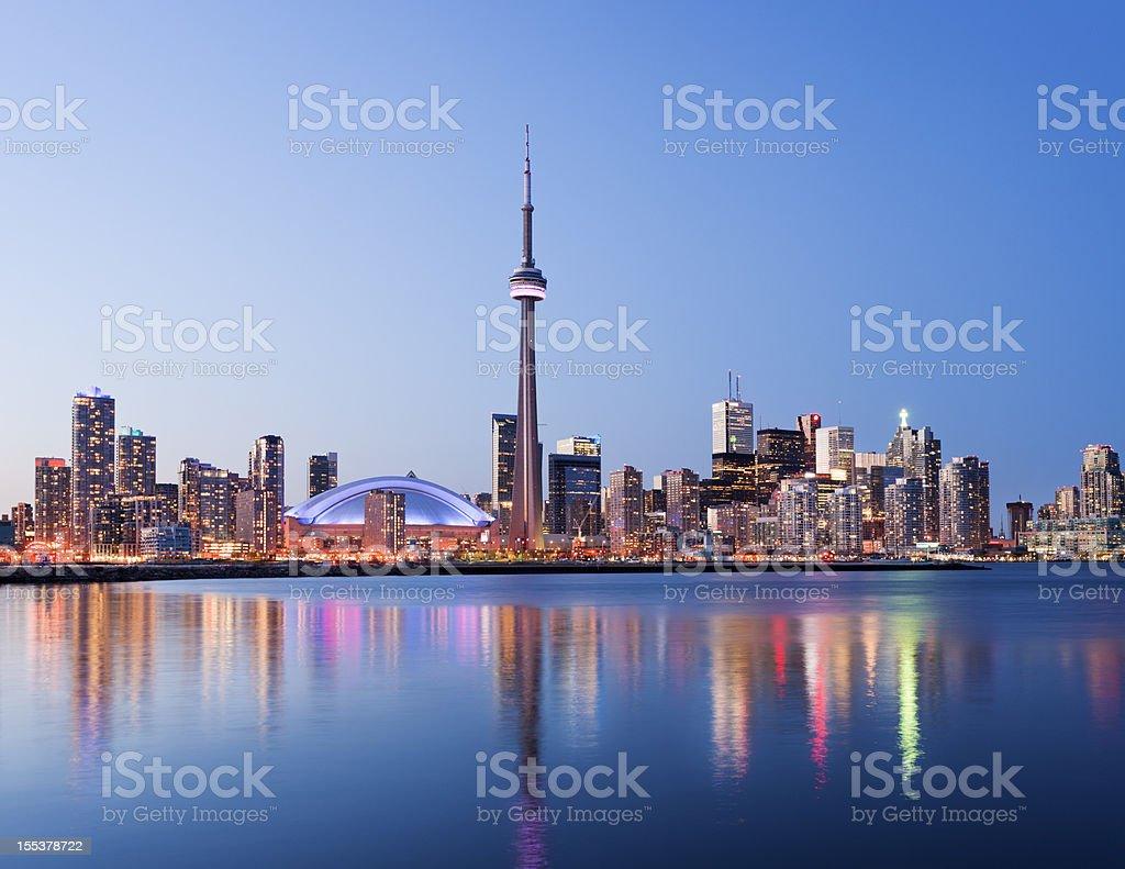 Toronto City Skyline at Night in Canada stock photo