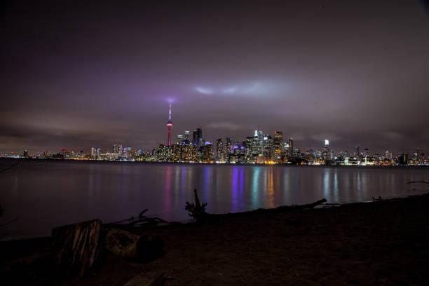 Toronto City Skyline at Night stock photo