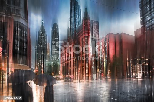 istock Toronto City Skyline - Rain Abstract 1066376628