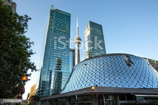 Toronto, Ontario, Canada - August 30, 2018:  Early morning view of downtown Toronto's Roy Thompson Hall, an iconic concert and event venue in the heart of the city.