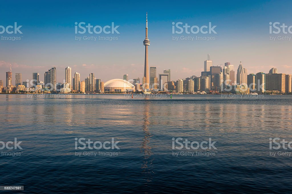 Toronto CN Tower downtown waterfront skyscrapers reflecting Lake Ontario Canada stock photo