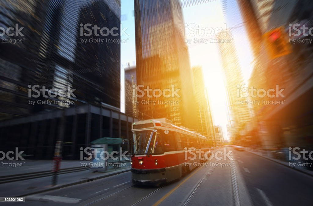 Toronto downtown buildings at sunset stock photo