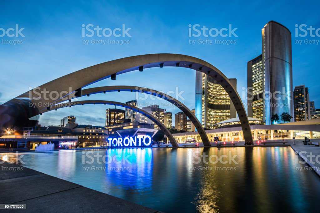 Toronto downtown square in financial district stock photo