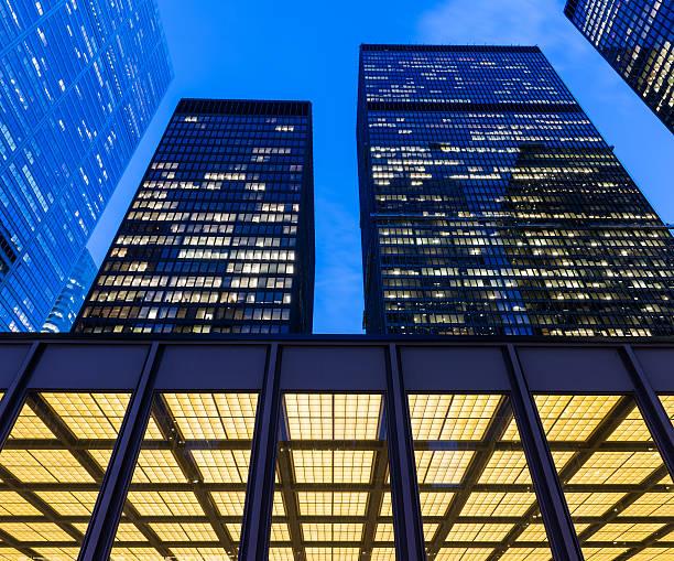 Toronto Financial District at night stock photo