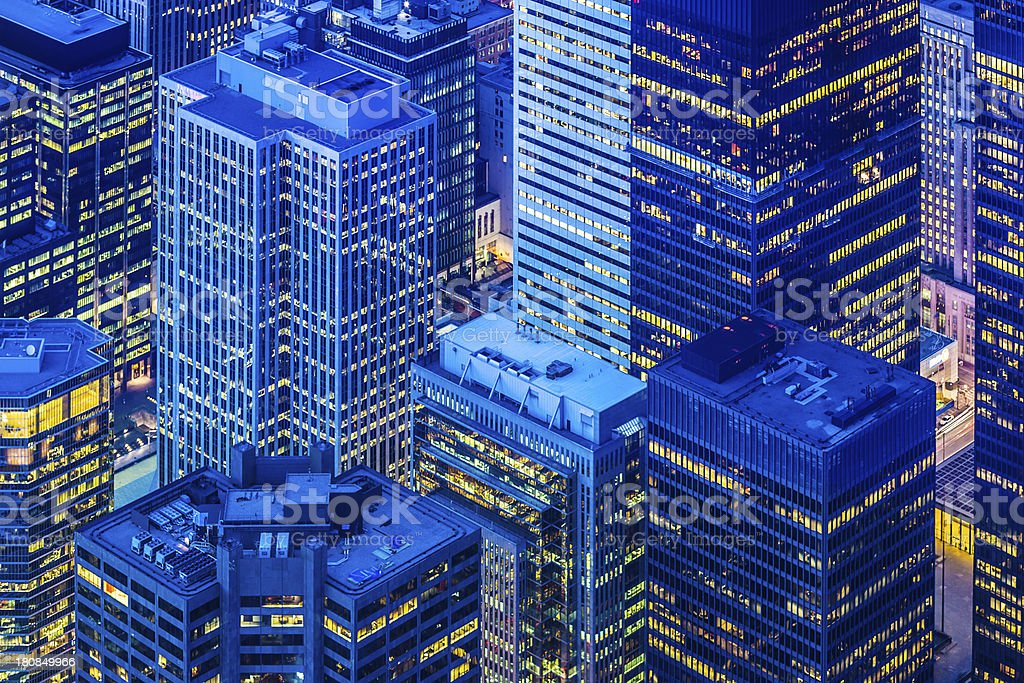 Toronto financial district cityscape at dusk royalty-free stock photo