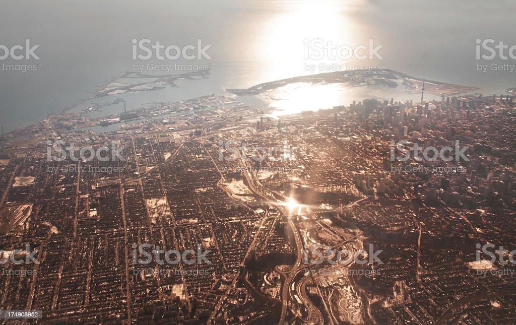 Toronto From the Air at Sunset royalty-free stock photo