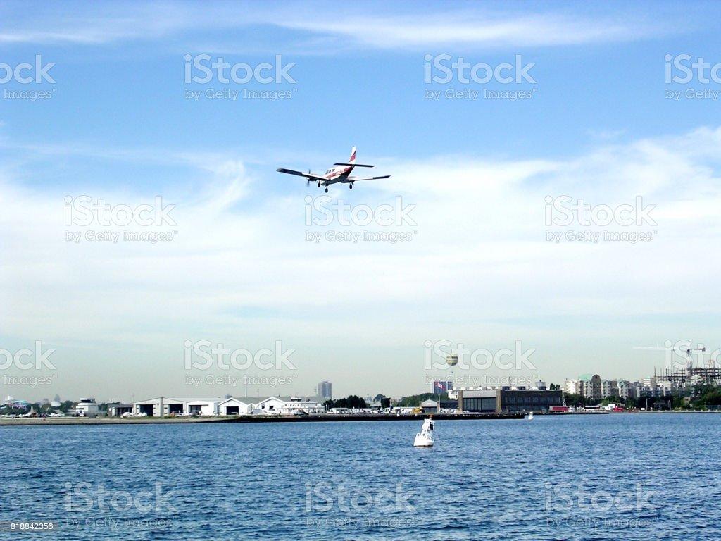 Toronto Lake the airplane over Downtown 2004 stock photo