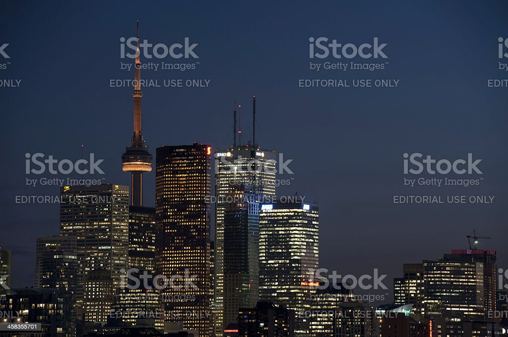 Toronto neon lights downtown cityscape skyscrapers CN Tower illuminated Canada royalty-free stock photo