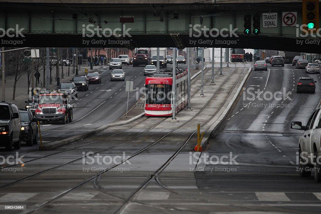 toronto new streetcar stock photo