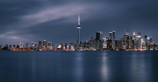 토론토 나이트 시티 스카이라인 파노라마 - 토론토 온타리오 뉴스 사진 이미지