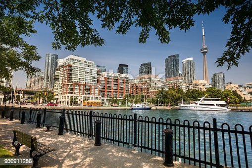 Downtown city view of Toronto Canada from Queens Quay and Lake Ontario