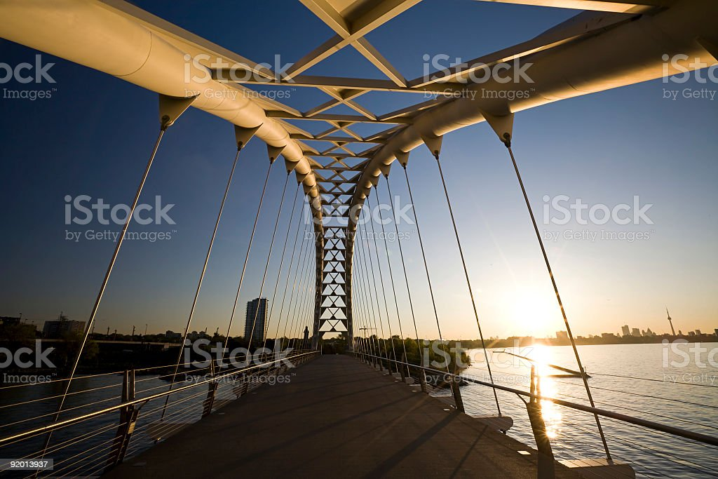 Toronto Pedestrain Shore Park Trail Bridge stock photo