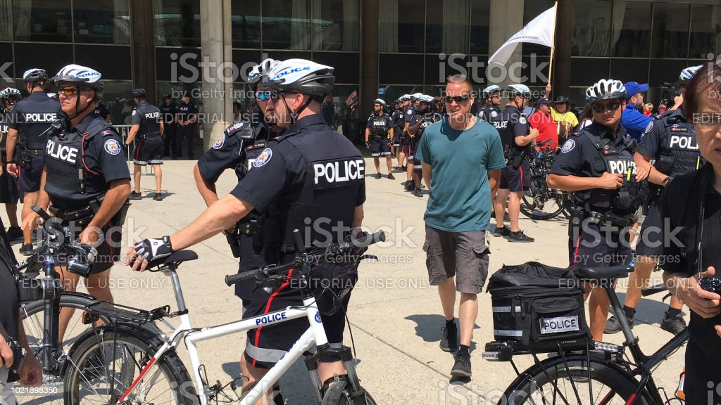 Toronto Police at Antifa rally stock photo